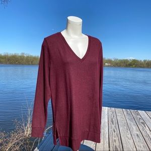 Lucky Brand maroon V- neck long sleeve sweater